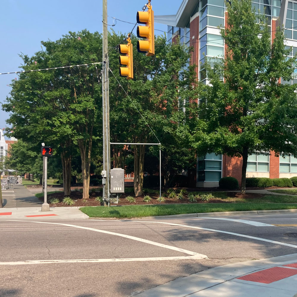 Pedestrian crosswalk at intersection
