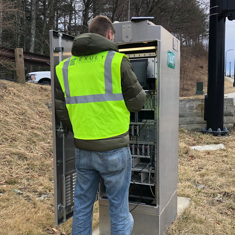 Exult Engineer working on traffic signal cabinet in Blowing Rock, North Carolina
