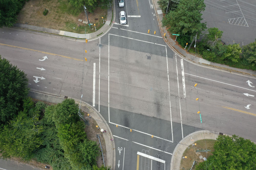 Aerial shot of traffic intersection in Durham, North Carolina